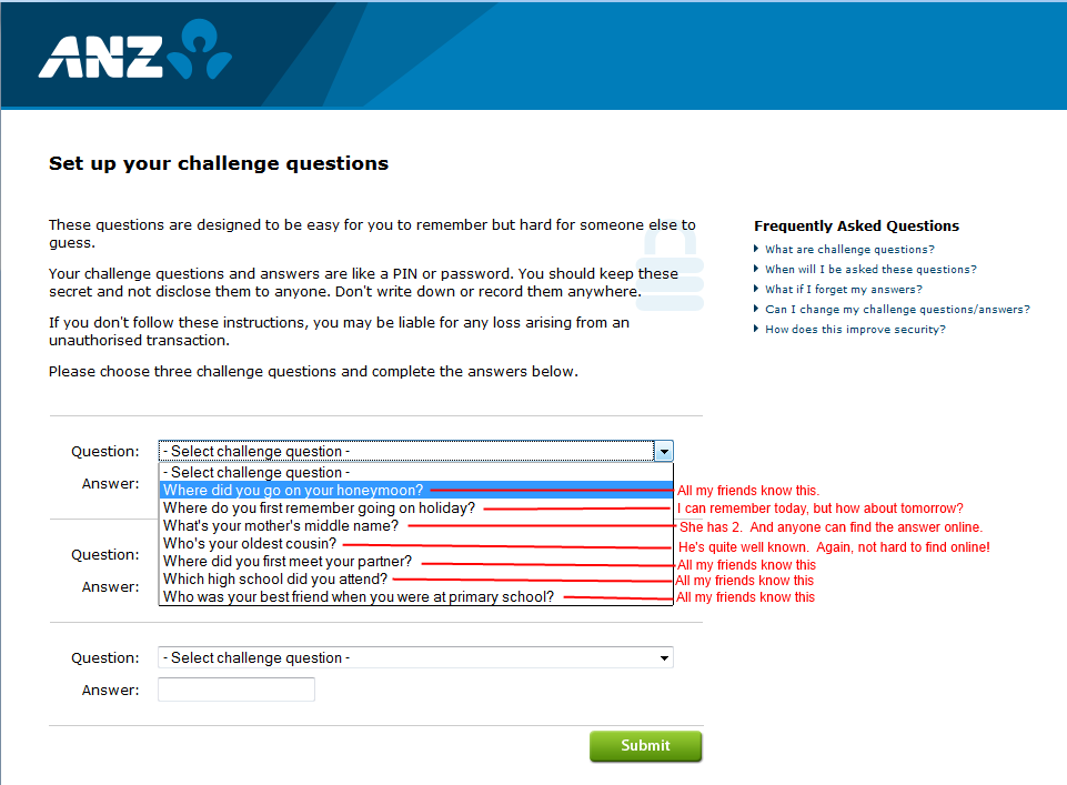 The farce of security challenge questions (yes, ANZ, I'm talking ...