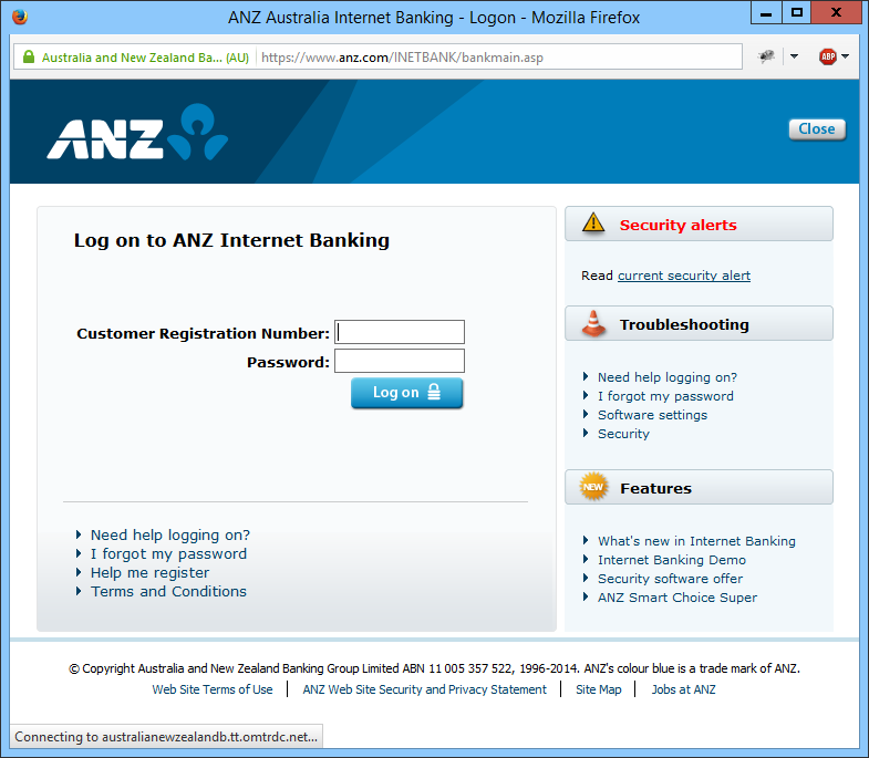 ANZ login delay - note the status message at the bottom of the window