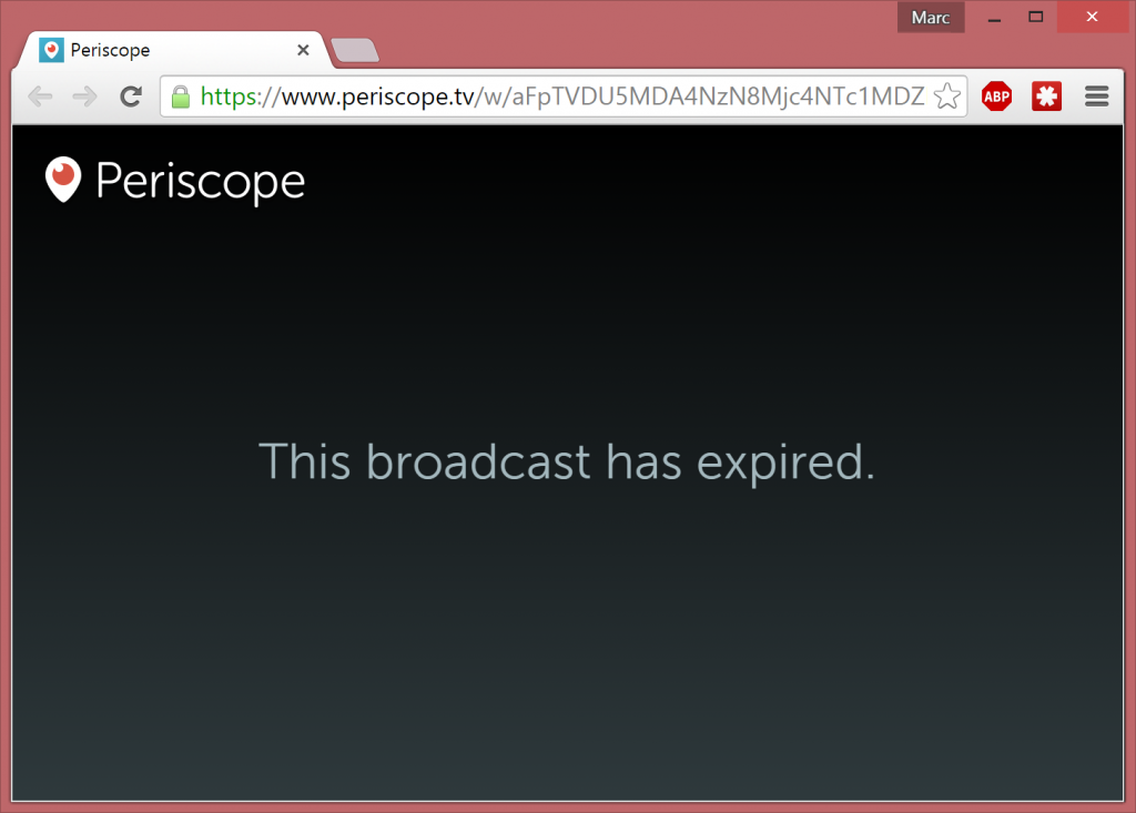 The broadcast has expired