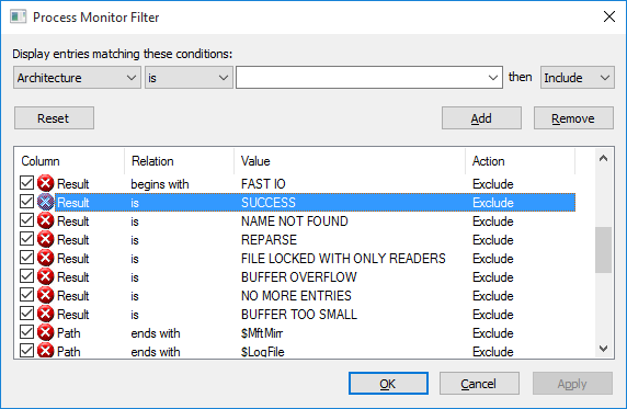 Filtering results to find the errors I am looking for in Procmon